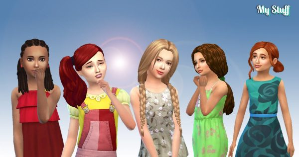 Girls Tied Hair Pack 6